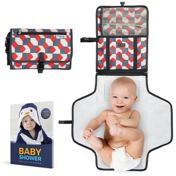 Portable Baby Diaper Changing Pad | Cushioned & Waterproof Changing Station Cover for Girls & Boys | Travel Changing mat with Liners & Stroller Strap | Perfect for Infants & Newborns | Great as GlFT