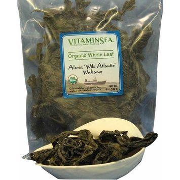 VITAMINSEA Organic Wakame Whole Leaf - 8 oz Seaweed - Maine Coast Sea Vegetables - USDA & Vegan Certified - Kosher - Perfect for Keto or Paleo Diets - Atlantic Ocean - Sun Dried - Raw - Wild (WW8)