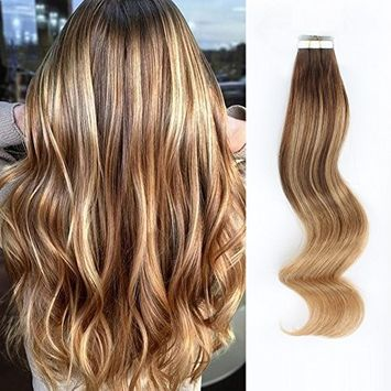 AmazingBeauty Sun-kissed Balayage Hair Extensions Tape on, Human Hair Invisible Double Sided Real Remy Human Hair Skin Weft, 50g/20pcs, Dirty Blonde with Off Darkest Brown B2-18, 18 Inch