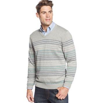 CLUB ROOM Cotton V-Neck Sweater Light Heather Grey & Blue Stripes