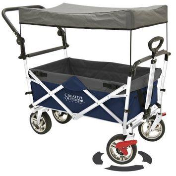Creative Outdoor PushPull Fold Wagon Canopy Blu