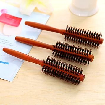 Boar Bristle Round Styling Hair Brush with Natural Wooden Handle for Women and Men (Random)