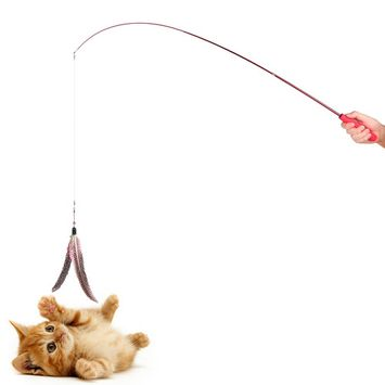 Retractable Cat Catcher Teaser Wand Cat Toy Fishing Pole Wand Rod with 2pcs Large Assorted Feather Toy for Cat Kitten Dog Exercising