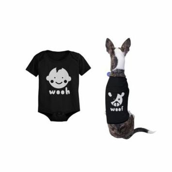 Wooh Baby Onesies and Woof Dog Tshirts Cute Matching Pet and Infant Apparel