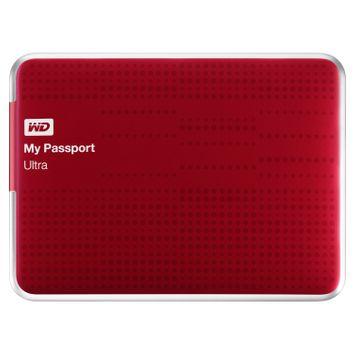 WD My Passport Ultra 500GB Portable External Hard Drive, Red