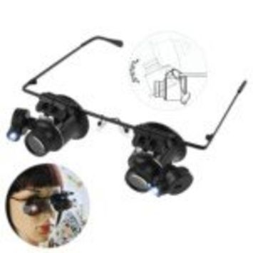 Glasses type 20X Watch Repair Magnifier with LED lights and two CR1620 batteries (Black)