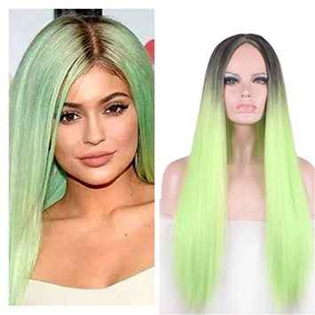 Green Wig for Women Ombre Wigs 24'' Long Straight Wig Synthetic Hair Wigs for Woman WIG166