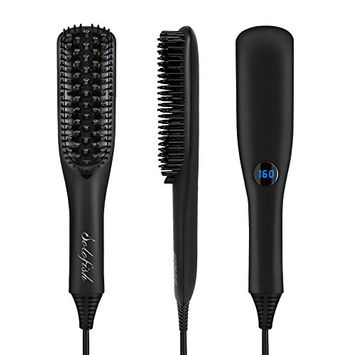 Hair Straightener Brush, Solofish Anion Ceramic Heating Hair Straightening Iron Brush with Heat Resistant Glove, Adjustable Temperature Anti-Scald Ionic Brush Straightener