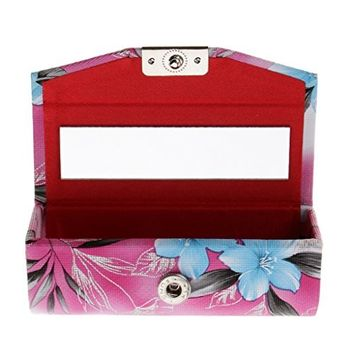 Homyl Leather Lipstick Case Holder With Mirror,Chinese Traditional Flower Design Makeup Jewelry Holder Box Lip Balm Carry Case Travel - Dark Pink