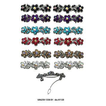 Dozen Pack 12 Barrettes French Clip Clasp Sparkling Stones U86250-1338-D1-2eablpuaqramcrys