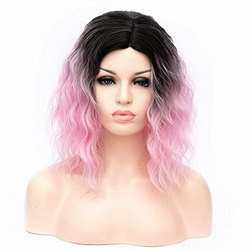 Menoqi Women Short Curly Ombre Wigs Fluffy Synthetic Hair Purple Cosplay Wig for Halloween Costume Party with Wig Cap COS001PR