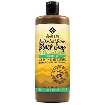Alaffia - Authentic African Black Soap, All-in-One Body Wash, Shampoo, and Shaving Soap, All Skin and Hair Types, Fair Trade, No Parabens, Non-GMO, No SLS, Peppermint, 32 Ounces (FFP)
