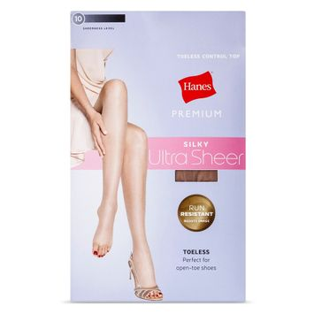 Hanes Solutions Women's Silky Ultra Sheer Control Top Toeless Hosiery - Nude L