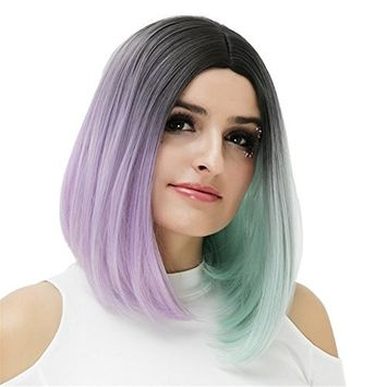 Cosplay Wig for Women Short Colorful Hair Wigs (Black/Purple/Mint Green) COS004