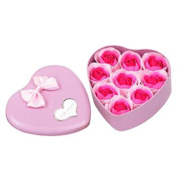 Jujunx 9Pcs Heart Scented Bath Body Petal Rose Flower Soap Wedding Decoration Gift Best (Pink)