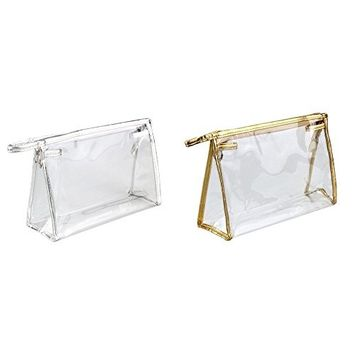 AUCH Waterproof Zippered Clear Transparent PVC Travel & Home Cosmetic Bag /Makeup Brush Tool Organizer Pouches Tote for Women Girls, Pack of 2(Silver/Golden)