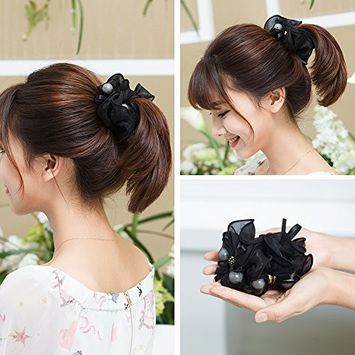 CHIMERA Elastic Hair Ties for Women Black Scrunchy Ponytail Holder Satin Hair Bands Ropes Stretchy Hair Scrunchies Accessories for Girls [Flower]