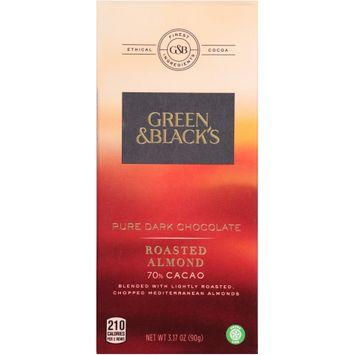 Green & Black's Roasted Almond 70% Cacao Pure Dark Chocolate