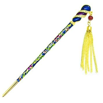 YOY Fashion Long Hair Decor Chinese Traditional Style Hair Stick Hair Pin for Women Girls Hair Making Accessory with Enamel Floral 6.3