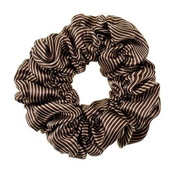 Great Quality Regular Soft Satin Hairband / Hair Scrunchy / Ponytail Holder / Elastic Band With Stripes Pattern In Dark Brown And White Colors By VAGA