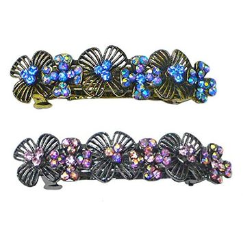 Set of 2 Crystal Barrettes Decorated with Sparkling Aurore Boreale Crystals YY86800-4-2sr