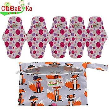 OHBABYKA Bamboo Reusable Sanitary Napkins Pads with Wet/Dry Bag for Women (Size M)