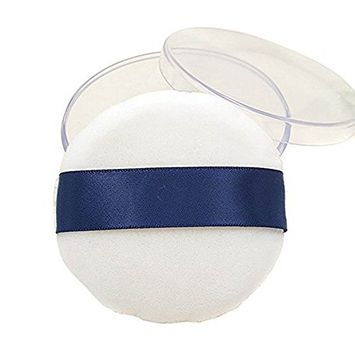 1 Pcs Big Size Round Air Cushion Plush Powder Puff Makeup Sponge Puff Baby Powder Puff with a Powder Puff Container Box for Makeup More Natural (White)