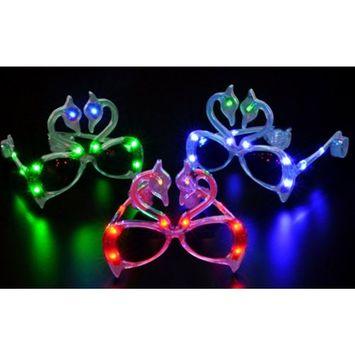 UNISHOW LED Skull Flashing Light up Eye Glasses Slotted Sunglasses for Rave Birthday Party Halloween Custom Holiday Multicolors Ship Randomly (12, B-skull)