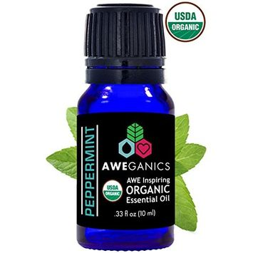 Aweganics Organic Peppermint Essential Oil - Best USDA Organic Essential Oils, 100% Pure Natural Premium Therapeutic-Grade, Aromatherapy Scented-Oils for Home, Personal Oil Use - 10 ml (MSRP $14.99)