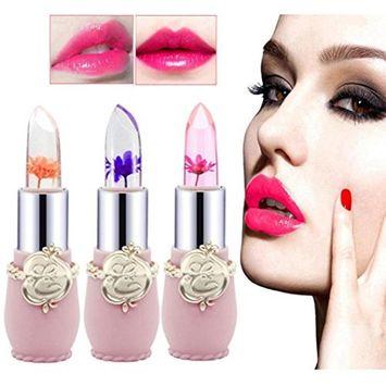 6PCS Flower Lipstick Beauty Bright Crystal Jelly Lip Balm Magic Temperature Change Color Makeup Lip