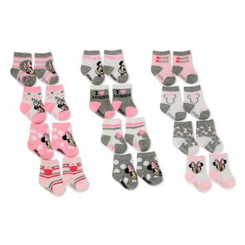Disney Minnie Mouse 12 Pair Assorted Color Socks Set, Baby Girls, Age 0-24M [baby_clothing_size: baby_clothing_size-0-6months]