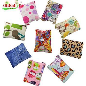 OHBABYKA Bamboo Reusable Sanitary Napkins Pads for Women, 5 Pcs
