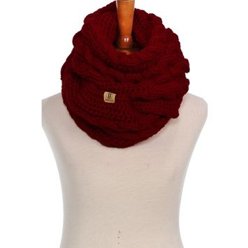 Basico - Basico Women Winter Chunky Knitted Infinity Scarf Warm Cable Loop Various Colors [name: actual_color value: actual_color-braidsburgundy]