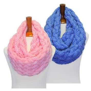 Basico - Basico Winter Chunky Knitted Infinity Scarf Circle Loop 2pk Various Colors (SF1602) [name: actual_color value: actual_color-babypink&azureblue]