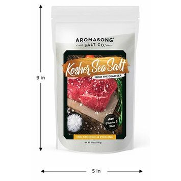Aromasong Organic Sea Salt, - Kosher Salt Grain, Large Bulk RESEALABLE Bag of 39 OZ, Natural, Unrefined, Gluten Free, Non Iodized Sea Salt, Grinder Refill for Daily Cooking or to use as Pickling Salt