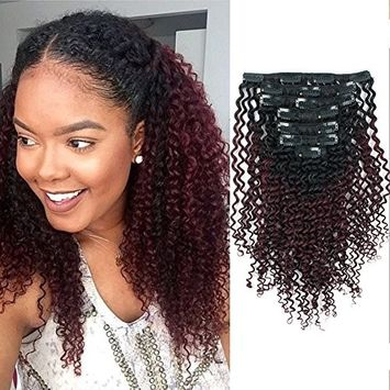 AmazingBeauty 8A Grade 3C 4A Kinkys Curly Ombre Hair Extensions Double Weft Real Remy Human Hair for African American, Natural Black Fading into Cherry Wine Two Tone Color TN/99J, 14 Inch