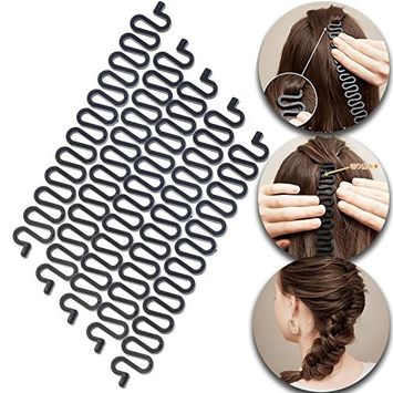Hair Styling Hairstyling Set Kit of 5pcs Braids Formers Makers Braiders Magic Twisters Twisting Braiding Tools In Black Color