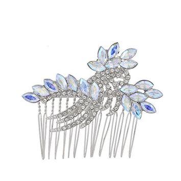 Lux Accessories Silver Tone Iridescent Faux Rhinestone Statement Hair Comb