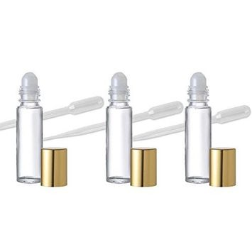Grand Parfums 18 Roll on Aromatherapy Essential Oil Glass Roll-on Bottles with Gold Top .33 Oz Great for Lip Gloss, Lip Balm Too