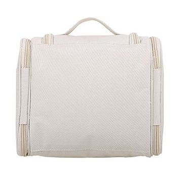 Compact Hanging Flat Bottom Unisex Toiletry Storage Organizer for Travel - Durable, Water-Resistant, & Stylish Beige