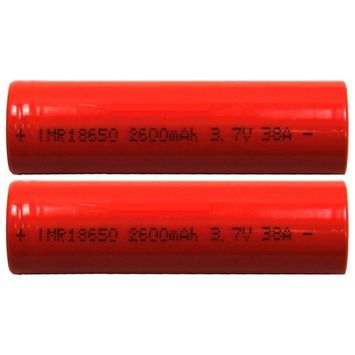 Two (2) IMR 18650 IMR18650 2600mAh Continuous 38A 60A Burst 3.7V Flat Top High Drain Batteies
