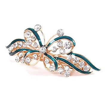 Gold Tone Butterfly Hair Clip - TOOGOO(R) Gold Tone Green Butterfly Detail Bling Rhinestone Hair Barrette Clip