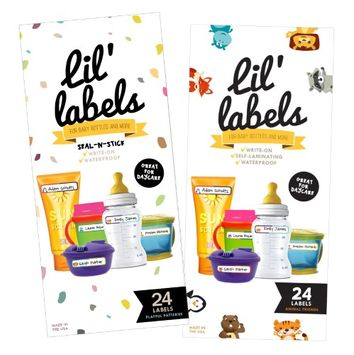 Lil' Labels Bottle Labels, Write-On, Self-Laminating, Daycare Waterproof Labels (Variety) (Pack of 2)
