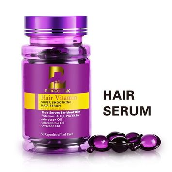 Hair Serum, Hair Treatment with Pure Moroccan Oil, Macadamia and Avocado Oils, Vit A, C, E, Pro Vit.B5, Perfect Link Hair Vitamins, 50 Capsules, Hair Serum for...