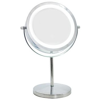 zinnor LED Makeup Mirror Adjustable - 1x/10X Magnifying Mirror, 7-Inch Double-Sided Lighted Vanity Makeup Mirror with Stand Cosmetic LED Mirror (Cordless Battery Powered)