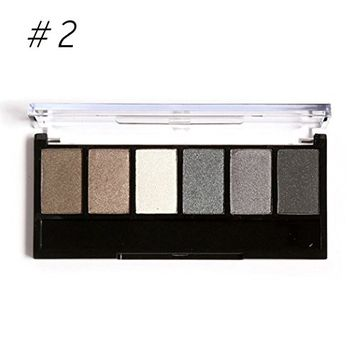 Eshion 6 Colors Makeup Shimmer Eyeshadow Palette With Mirror Eye Shadow Sponge