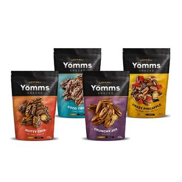 Yömms, Healthy Snacks, Gluten Free, Pecan Nuts, Variety Pack (3.5 oz x 4 packs), Limited Time Offer 2x1