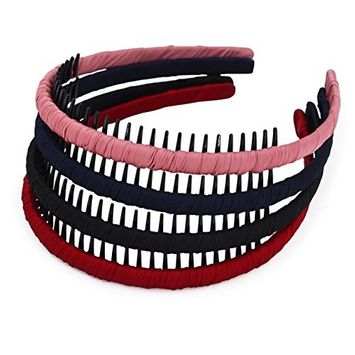 STHUAHE4PC Multicolor Protection Resin Teeth Comb Hair Hoop Hairband Headband Hair Accessories by Beauty hair