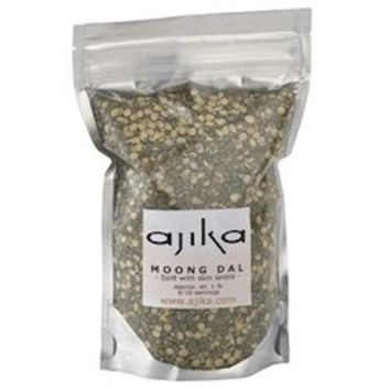 Ajika Moong Dal Split with Green Skin Indian Mung Lentils, Elegant Flavor and Texture, 14-Ounce