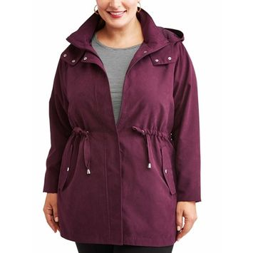 Time and Tru Women's Plus-Size Hooded Anorak Utility Jacket